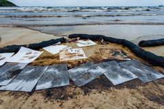 Ao Prao Beach was full of crude oil Royalty Free Stock Image