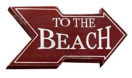 Ao sinal da praia isolado no branco com trajeto de grampeamento fotografia de stock