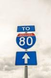 Ao sinal 80 de um estado a outro Foto de Stock Royalty Free