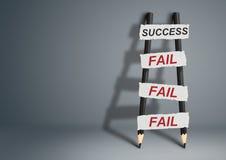 Ao sucesso com as falhas conceito criativo, escada do lápis com Foto de Stock Royalty Free
