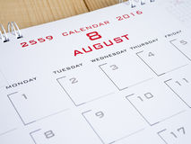 2016 août à la page 1 de calendrier Photo stock