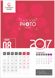 Août 2017 Calendrier 2017 images stock