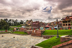 18 août 2014 - jardin de temple de Pashupatinath à Katmandou Image libre de droits