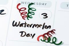 3 août, jour national de pastèque Image libre de droits