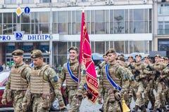 24 août 2016 Kyiv, Ukraine vieux bateau de défilé de marine militaire grand Photos libres de droits