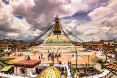18 août 2014 - temple de Boudhanath à Katmandou, Népal Photographie stock libre de droits