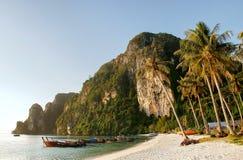 Ao Ton Sai beach on Phi Phi Don Island, Krabi Province, Thailand. Koh Phi Phi Don is part of a marine national park royalty free stock image