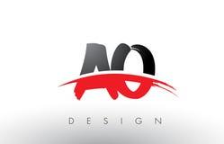 Ao une brosse Logo Letters d'O avec l'avant de brosse de bruissement de rouge et de noir Images libres de droits