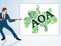 Aoa Currency Indicates Exchange Rate And Broker Royalty Free Stock Photography