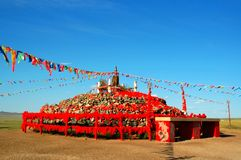 Aobao. National meeting ground building on the grassland of the Inner Mongol --aobao Stock Image