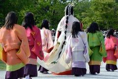 aoi festiwalu hollyhock matsuri zdjęcia royalty free