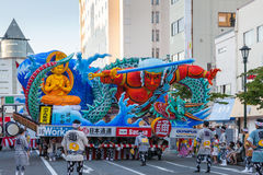 Aomori Nebuta (Lanterns float) festival in Japan. AOMORI, JAPAN - AUGUST 5,2015: Nebuta (Lanterns float) prepare for night parade in Aomori Nebuta festival Stock Photo
