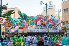 Aomori Nebuta (Lanterns float) festival in Japan. AOMORI, JAPAN - AUGUST 5,2015: Nebuta (Lanterns float) prepare for night parade in Aomori Nebuta festival Royalty Free Stock Photo