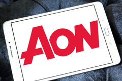 AON insurance logo. Logo of AON insurance company on samsung tablet . Aon plc is a global professional services firm that provides risk, retirement and health Royalty Free Stock Photos