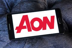 AON insurance logo. Logo of AON insurance company on samsung mobile. Aon plc is a global professional services firm that provides risk, retirement and health Stock Photos