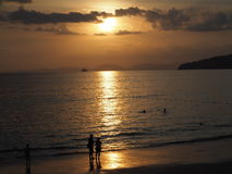 aonang krabi thailand take photo on sunset stock images