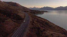 Aoraki库克山和普卡基湖旅行天线,坎特伯雷高国家,南岛,新西兰 影视素材