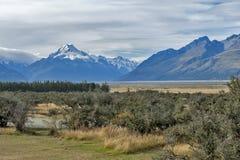 Aoraki/cuoco del supporto, il più alta montagna in Nuova Zelanda ed il fiume di Tasman visto dal centro del parco di Glentanner Fotografia Stock Libera da Diritti