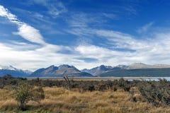 Aoraki/cuoco del supporto, il più alta montagna in Nuova Zelanda ed il fiume di Tasman visto dal centro del parco di Glentanner Immagini Stock Libere da Diritti