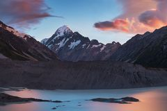 Aoraki Mount Cook During Blue Hour Sunset From Hooker River. Hooker Valley Track, Mount Cook National Park, New Zealand royalty free stock photo