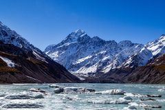 Aoraki Mount Cook and Hooker Lake. The amazing view of Mt. Cook and Hooker Lake from glacier at Hooker Valley Track in south island, New Zealand.  One has to Stock Photography