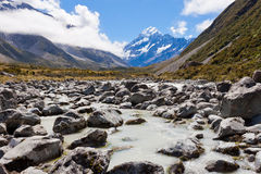 Aoraki Mount Cook Hooker Valley Southern Alps NZ Stock Photo