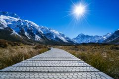Aoraki Mount Cook and Hooker Valley Track, South Island, New Zealand. Trekking along Hooker Valley Track to Hooker Lake in Aoraki Mount Cook National Park, South Royalty Free Stock Photography