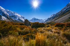 Aoraki Mount Cook and Hooker Valley Track, South Island, New Zealand Stock Photos