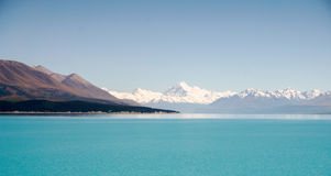Aoraki Mount Cook and Lake Pukaki, Canterbury High Country, South Island, New Zealand. Panoramic view from Glentanner Park Centre, on a background of blue sky Royalty Free Stock Photography