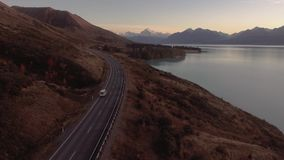 Aoraki Mount Cook and Lake Pukaki road trip aerial, Canterbury High Country, South Island, New Zealand