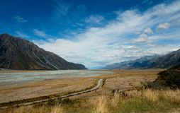 Aoraki / Mount Cook National Park. Tasman River in Aoraki / Mount Cook National Park, New Zealand stock photography