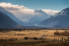 Aoraki Mount Cook, New Zealand. Road to Aoraki/Mount Cook National Park in the South Island of New Zealand Stock Photography