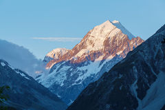 Aoraki Mount Cook Peak closeup at sunset, New Zealand Royalty Free Stock Photo