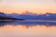 Aoraki Mountcook befor the sunset at lake Pukaki sightseeing. New Zealand Royalty Free Stock Image