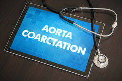 Aorta coarctation (heart disorder) diagnosis medical concept on. Tablet screen with stethoscope stock photography