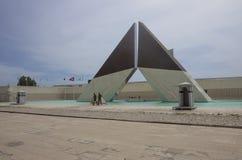 `-Aos Combatentes gör Ultramar ` - nationell monument till de portugisiska soldaterna som är stupade i Afrika 1961-1975 i Belem arkivbild
