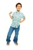 Muchacho negro feliz y animadamente pequeño Imagenes de archivo