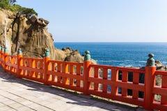 Aoshima寺庙和海岸线在日本 库存照片