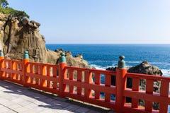 Aoshima寺庙和海岸线在日本 库存图片