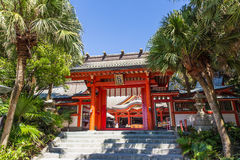 Aoshima, JAPAN - 27. August: Aoshima-jinja, ein buntes shintoistisches SH Lizenzfreies Stockbild
