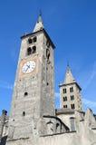 Aosta, Ιταλία, πύργος ρολογιών του καθεδρικού ναού σε Aosta Στοκ Φωτογραφίες