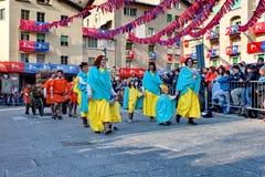 Aosta Ιταλία του pont-Άγιος-Martin ιστορικό καρναβάλι †«Pont Άγιος Martin Valle δ `, στις 27 Φεβρουαρίου 2017 Στοκ Φωτογραφία