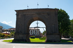 Aosta, the Aosta Valley, Italy, Europe. View of the Arch of August on July 29, 2016. The Arch of August was built in 25 BC for the Roman victory over the Royalty Free Stock Photos