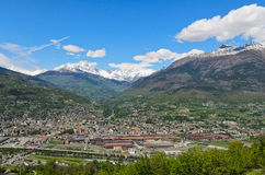 Aosta city. Panoramic view of the city of Aosta-Italy Royalty Free Stock Photo