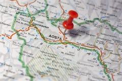 Aosta fijó en un mapa de Italia Imagen de archivo libre de regalías