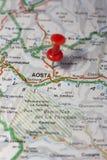 Aosta fijó en un mapa de Italia Foto de archivo
