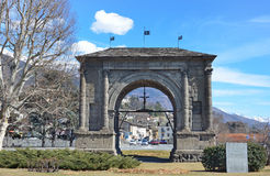 Aosta, Italy,ancient arch of Augustus, built a 25 year BC Royalty Free Stock Photography