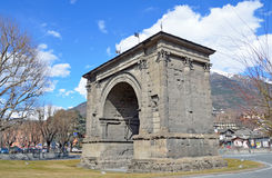 Aosta, Italy,ancient arch of Augustus, built a 25 year BC Stock Photos