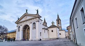 AOSTA, ITALY - MARCH 9, 2018:Cathedral in the historic part of t royalty free stock photography