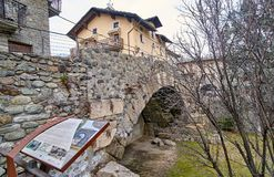 AOSTA, ITALY - MARCH 9, 2018: A historic ancient bridge on 9 Mar Royalty Free Stock Images